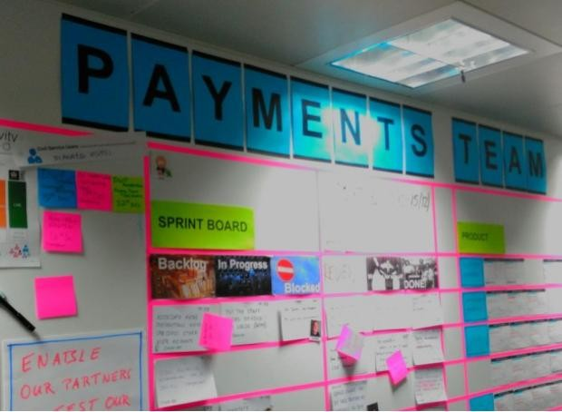 Payments team agile wall