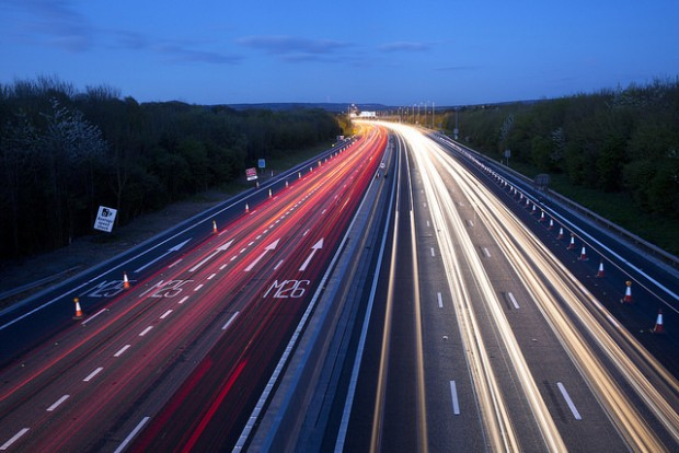 Slow exposure photograph of M25 motorway
