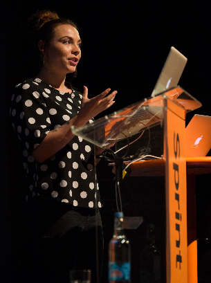Photo of Lauren Toombs, product manager at Office of the Public Guardian, presenting at Sprint 16