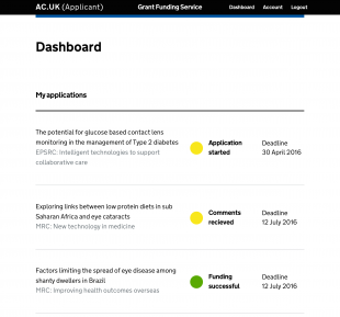 Screen shot of a prototype of an applicant's dashboard