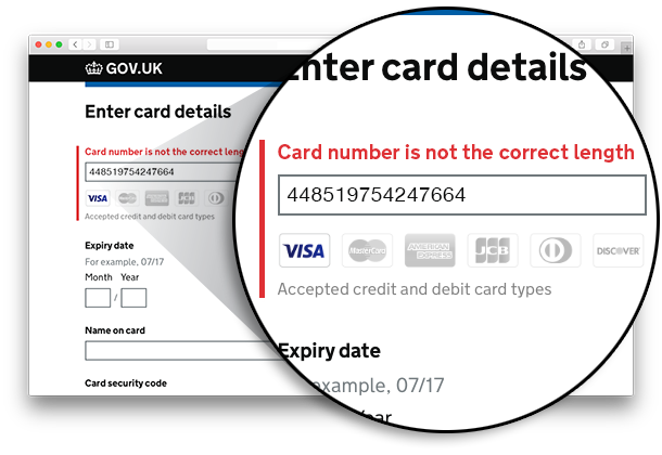 Screenshot of a page, on which there's an error message telling the user they've made a mistake when inserting their card number