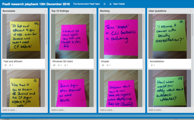 A Trello board showing a series of post it notes made during user research for GOV.UK Platform as a Service
