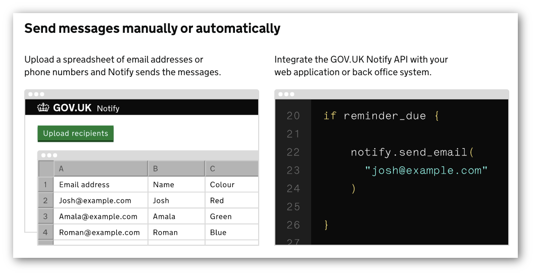 Image containing 2 screen shots - one of code and the other of the GOV.UK Notify admin interface